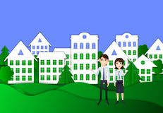 Vector Ecology Town and Young Family, Housing Concept Illustration, Origami Style. royalty free illustration