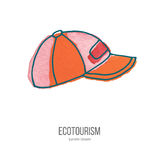 Vector ecotourism doodle on watercolor texture. Baseball hat or cup. Ecotourism monochromatic line design element on hand painted abstract watercolor texture Stock Images