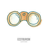 Vector ecotourism doodle on watercolor texture. Binoculars.  Ecotourism monochromatic line design element on hand painted abstract watercolor texture. Emblem Royalty Free Stock Image