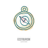 Vector ecotourism doodle on watercolor texture. Compass. Ecotourism monochromatic line design element on hand painted abstract watercolor texture. Emblem, logo Stock Images