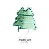Vector ecotourism doodle on watercolor texture. Coniferous trees. Ecotourism monochromatic line design element on hand painted abstract watercolor texture Stock Photos
