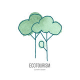 Vector ecotourism doodle on watercolor texture. Deciduous trees. Ecotourism monochromatic line design element on hand painted abstract watercolor texture. Emblem Stock Images