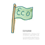 Vector ecotourism doodle on watercolor texture. Flag with word Eco. Ecotourism monochromatic line design element on hand painted abstract watercolor texture Royalty Free Stock Photos