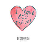 Vector ecotourism doodle on watercolor texture. Heart with phrase I love eco travel. Ecotourism monochromatic line design element on hand painted abstract Stock Photo