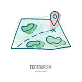 Vector ecotourism doodle on watercolor texture. Map with ping. Ecotourism monochromatic line design element on hand painted abstract watercolor texture. Emblem Royalty Free Stock Images
