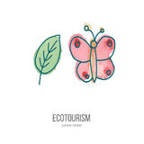 Vector ecotourism doodle on watercolor texture. Pink utterfly and green leaf. Ecotourism monochromatic line design element on hand painted abstract watercolor Stock Image