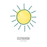 Vector ecotourism doodle on watercolor texture. Shining sun. Ecotourism monochromatic line design element on hand painted abstract watercolor texture. Emblem Stock Photo