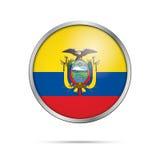 Vector Ecuadoran flag Button. Ecuador flag in glass button style Royalty Free Stock Photos