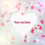 Vector editable  background with blured hearts and. Vector background with blured hearts and lights. Cuted out place for text shaped heart Stock Photos