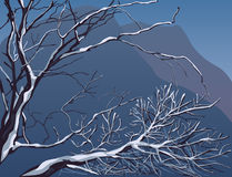 Vector editable de winterlandschap Stock Afbeelding
