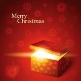 Vector editable illustration of magic gift box. Open and luminous Stock Photo
