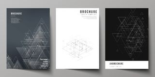 The vector editable layout of A4 format cover mockups design templates for brochure, magazine, flyer, booklet. Polygonal. Background with triangles, connecting Stock Photography