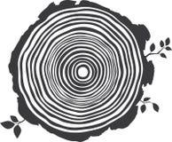 Vector editable zwart-witte tekening van boom jaarringen royalty-vrije illustratie