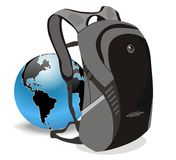 Vector education bag school and world. White isolated Vector of education (bag school) to gain world Stock Photography