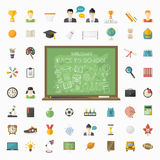 Vector education  big set in flat style Royalty Free Stock Images