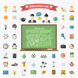 Vector education  big set in flat style Stock Photos