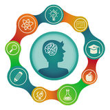 Vector education concept - brain and creativity. Icons and signs Royalty Free Stock Images