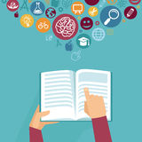 Vector education concept - hands holding book Stock Image