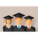 Vector education concept with students in graduation gown and mortarboard.  Stock Photos