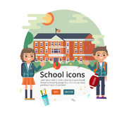 Vector education cover design. Illustration of primary or elementary, middle  high school facade on sun landscape Stock Photography