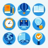 Vector education icons in flat style Stock Images