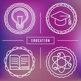 Vector education icons and logos in outline style Royalty Free Stock Photo
