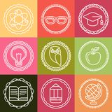 Vector education icons and logos in outline style Royalty Free Stock Images