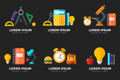 Vector education icons set. High school object in flat style on Royalty Free Stock Photo