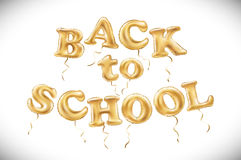 Vector education illustration of Back To School label with flying Metallic Gold Balloons Stock Photos