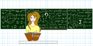 Vector education illustration with a beautiful girl sitting at desk in classroom near the blackboard with formulas, figures Stock Images