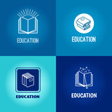 Vector education logo set. Book white icons on blue background with inscription Stock Photos