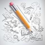 Vector education, science concept, pencil, sketch