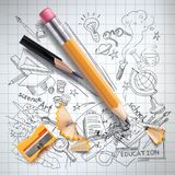 Vector education, science concept, pencil, sketch stock illustration