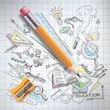 Vector education, science concept, pencil, sketch. Vector realistic pencil, sharpener on notebook paper with colored sketch creative education, science, school Royalty Free Stock Images