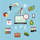 Vector education, start up, banking concept. Infographics on the topic of business and finance in the modern style flat Stock Images