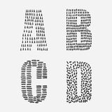 Vector educational set with hand drawn letters sequence from A to D decorated with ink textures Stock Photography