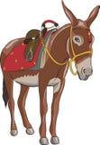 Vector Een ezel met een zadel stock illustratie