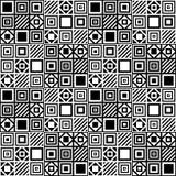 Vector eenvoudig geometrisch naadloos patroon met vierkanten en lijnen in zwart-wit Royalty-vrije Stock Foto's