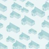 Vector eenvoudig isometrisch huizen naadloos patroon royalty-vrije illustratie