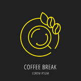 Vector Eenvoudig Logo Template Coffee Break Stock Illustratie