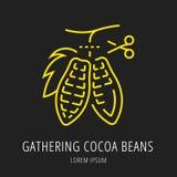 Vector Eenvoudig Logo Template Gathering Cocoa Beans stock illustratie