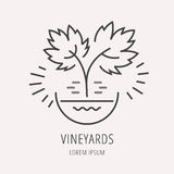 Vector Eenvoudig Logo Template Plant Grapes vector illustratie