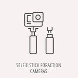 Vector Eenvoudig Logo Template Selfie Stick voor Actiecamera's Royalty-vrije Stock Afbeeldingen