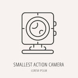 Vector Eenvoudig Logo Template Smallest Action Camera Royalty-vrije Stock Foto