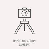 Vector Eenvoudig Logo Template Tripod voor Actiecamera's Royalty-vrije Stock Foto's