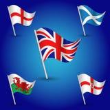 Vector eenvoudige driehoeks vastgestelde vlaggen het Verenigd Koninkrijk van Groot-Brittannië - markeer Engeland, Schotland, Wale Stock Foto