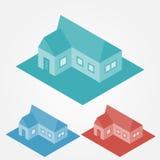 Vector eenvoudige isometrische huizen Stock Foto's