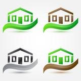 Vector eenvoudige onroerende goederen huis (gebouwen) pictogrammen - sym royalty-vrije illustratie