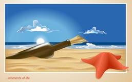Vector eenzaam strand met een fles & een zeester Stock Afbeelding