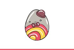 Vector egg emoticon dressed cutely with facial expression. Stock Photo